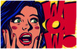 Vintage pop art style comic book panel with surprised excited woman saying wow looking at something amazing retro vector poster design illustration