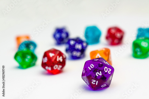 Many Dices for board games, isolate on white плакат