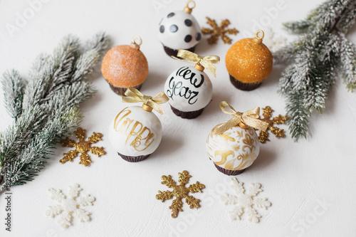 Christmas Decorative Dessert White Chocolate And Sugar Mastic