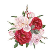 Floral Card. Bouquet Of Waterc...