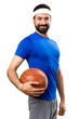 Happy Funny sportsman with ball of basketball on isolated white background