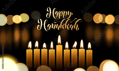 Happy hanukkah greeting card of golden font and candles for jewish happy hanukkah greeting card of golden font and candles for jewish lights festival holiday design template m4hsunfo
