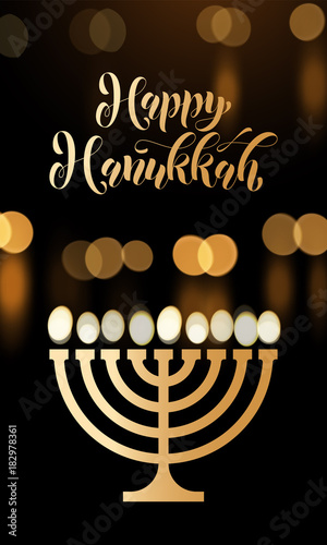 Happy hanukkah golden font menorah candle lights candelabrum for happy hanukkah golden font menorah candle lights candelabrum for jewish lights festival holiday greeting card m4hsunfo