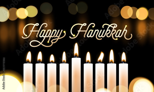 Happy Hanukkah Candle Lights Bokeh And Golden Calligraphy Text For Jewish  Holiday Greeting Card Design.