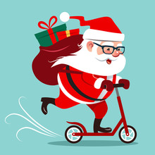 Vector Cartoon Illustration Of Cute Happy Santa Claus Riding On A Kick Scooter, With Big Backpack With Gifts On His Back. Christmas Winter Holiday Design Element In Flat Contemporary Style.