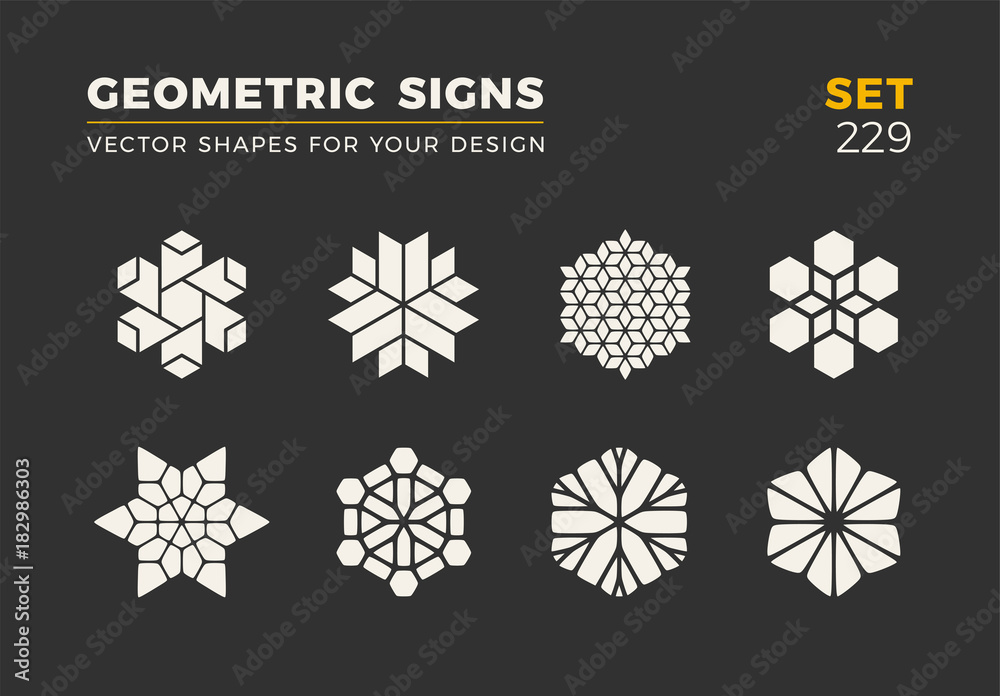 Fototapeta Set of eight minimalistic trendy shapes. Stylish vector logo emblems for Your design. Simple geometric signs collection.