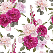 Floral Seamless Pattern With Hand Drawn Watercolor Roses, White Peonies And Gladiolus Flowers