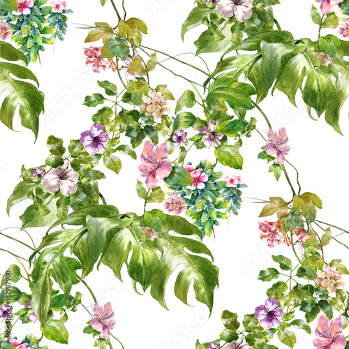 Fototapety, obrazy: Watercolor painting of leaf and flowers, seamless pattern on white background