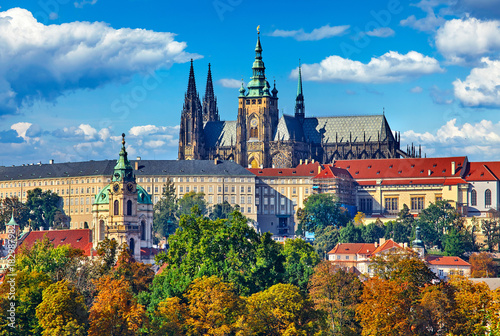 Prague fall landscape view to Saint Vitus Cathedral with blue Poster