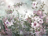 Abstract colorful flowers watercolor painting. Spring multicolored in .nature - 182988113