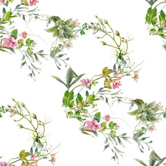 Panel Szklany Liście Watercolor painting of leaf and flowers, seamless pattern on white background