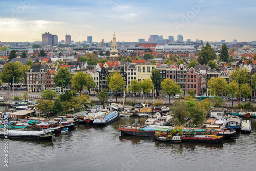 Oosterdok cityview in Amsterdam, the Netherlands. Fototapet