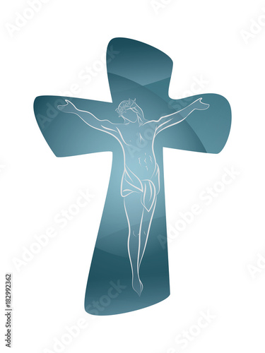 Stampa su Tela Christian cross with line art crucified jesus on pastel blue color background