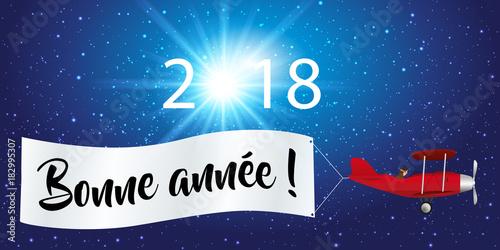 2018 - carte de vœux - message - fond - banderole - avion - année - bonne année Canvas Print