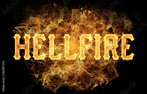 hellfire word text logo fire flames design Tablou Canvas