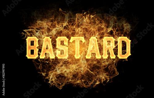 Photo bastard word text logo fire flames design