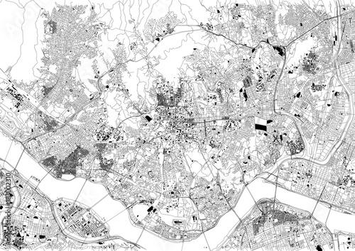 Strade di Seul, mappa della città, Corea del Sud, stradario Canvas Print