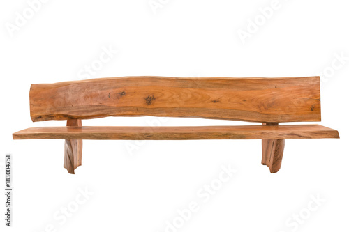 Foto Bench. Wooden. of rough planks and logs. rustic bench