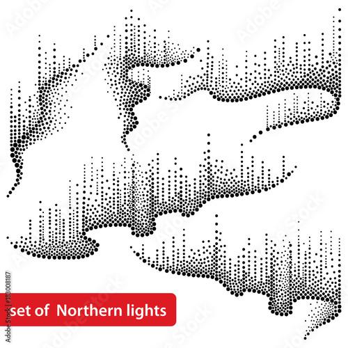 Wektor zestaw z kropkami wiruje światła północnego lub polarnego w kolorze czarnym na białym tle. Aurora borealis zapala się w stylu dotwork do arktycznego projektowania przestrzeni lub galaktyk.