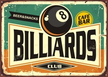 Retro Billiards Sign Design Wi...