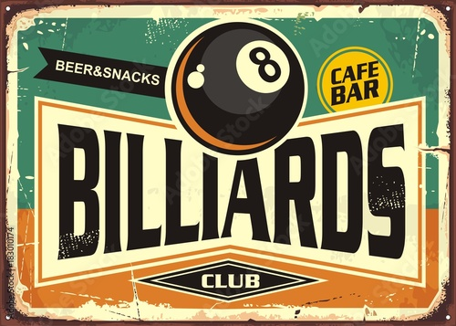 Fotografie, Tablou  Retro billiards sign design with black eight ball on green background