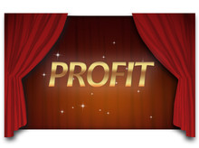 Background With Red Curtain And Golden Words Profit