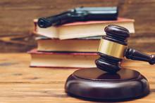 Judge Gavel, Law Books And Gun...