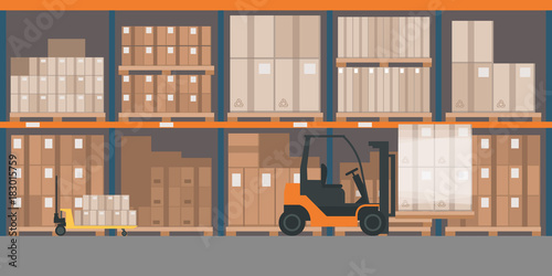 Fotografia  Warehouse interior with goods and pallet trucks