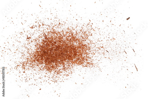 pile cinnamon powder isolated on white background, with top view Fototapete