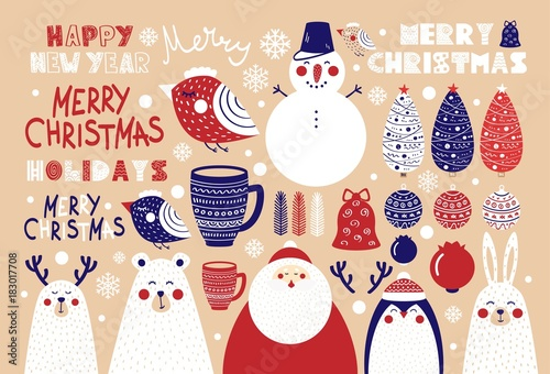 Photo Stands Illustrations Cute set of Christmas elements for posters and postcards