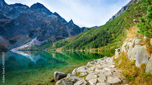 Foto op Aluminium Nachtblauw Green water lake Morskie Oko, Tatra Mountains, Poland
