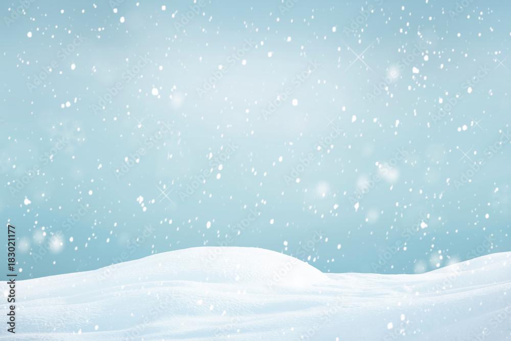 Fototapeta Winter background, falling snow
