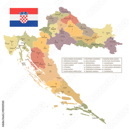 Fotografie, Obraz Croatia - vintage map and flag - Detailed Vector Illustration