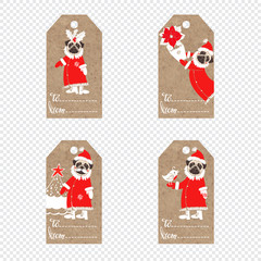 Collection of kraft paper tags with Pug Dogs in Santa Claus suit.