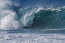 Giant Breaking Wave On The North Shore Of Oahu Hawaii At Waimea Bay