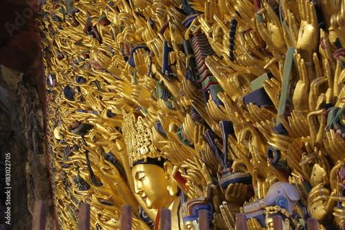 Bodhisattva, Buda de las mil manos, Esculturas Rupestres de Dazu , Monte Baoding Wallpaper Mural
