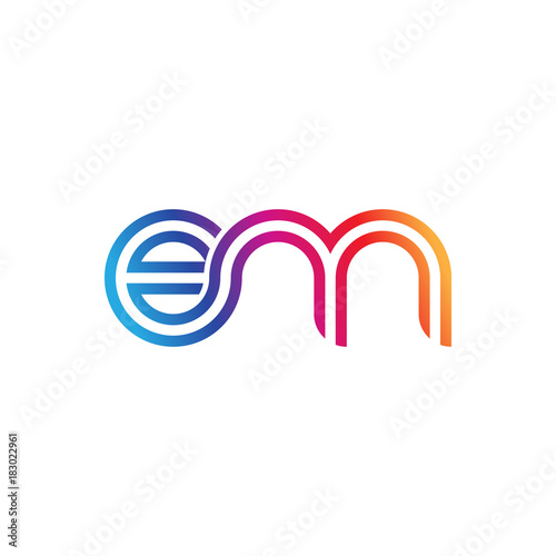 Photo Initial lowercase letter em, linked outline rounded logo, colorful vibrant gradi