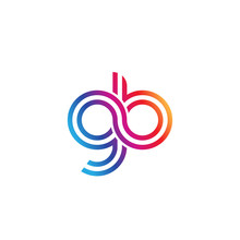 Initial Lowercase Letter Gb, Linked Outline Rounded Logo, Colorful Vibrant Gradient Color