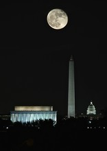 Washington DC Monuments At Night Under Full Super Moon