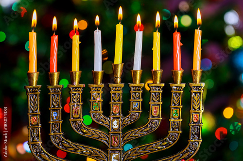 jewish holiday Hanukkah background with menorah traditional candelabra and burni Wallpaper Mural