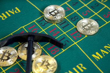 bitcoin on the table in the casino