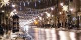 Fototapeta Uliczki - Winter decoration street