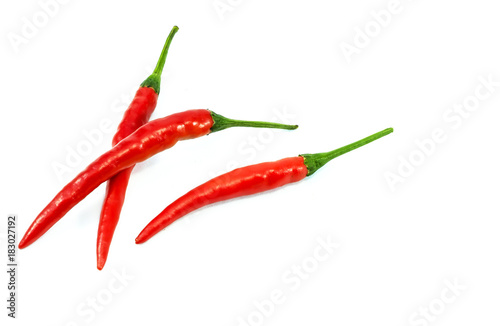 Staande foto Hot chili peppers Fresh chili red peppers isolated on a white background.