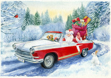 Watercolor Painting. Christmas Postcard.