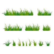 Set Of Green Tufts Grass, Herb...