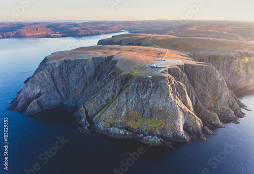 In de dag Noord Europa View of Nordkapp, the North Cape, Norway, the northernmost point of mainland Norway and Europe, Finnmark County, aerial picture shot from drone