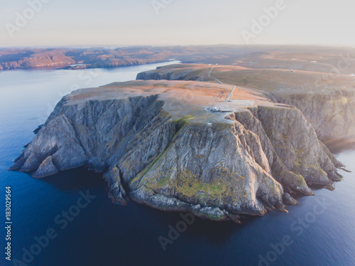 View of Nordkapp, the North Cape, Norway, the northernmost point of mainland Norway and Europe, Finnmark County, aerial picture shot from drone