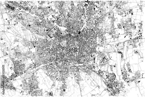 Cartina di Milano, vista satellitare, città, Lombardia, Italia Wallpaper Mural