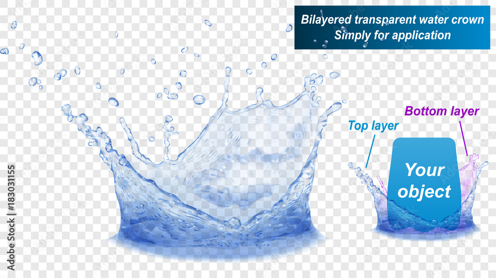 Fototapeta Translucent water splash crown consist of two layers: top and bottom. In blue colors, isolated on transparent background. Transparency only in vector file