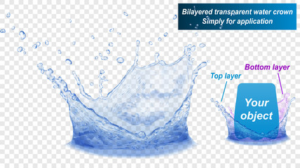 Translucent water splash crown consist of two layers: top and bottom. In blue colors, isolated on transparent background. Transparency only in vector file